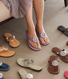 Array of flip flops in many colors