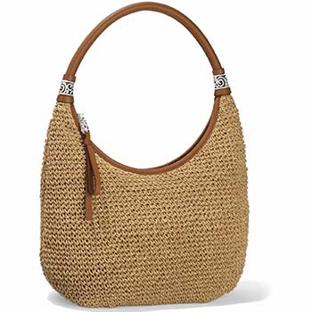 Shelby Straw bag with wheat white leather