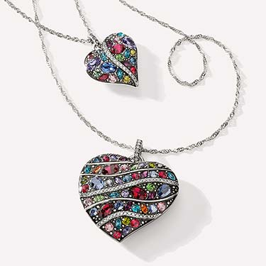 Brighton Heart Shape jewelry with lots of colored enamel