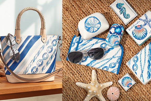 Two Images - On The Left Port Small Tote, On The Right A Sorts Of Accessories - Cruz Double Sunglass Case, Sea Shore Pill Box, Sea Shore Metal Card Case, Sea Shore Mini Coin, Cruz Rockmore Wallet, Sea Shore Mini Box On A Rug