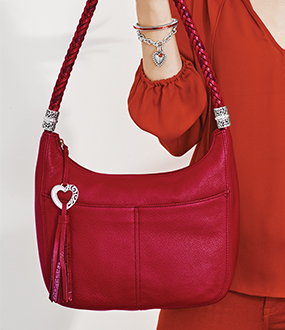 Model With Red Barbados Handbag