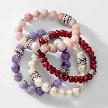 multiple semi-precious bracelets