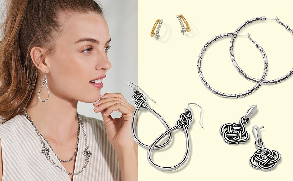 Model wearing interlok jewelry on the left and earrings on the right
