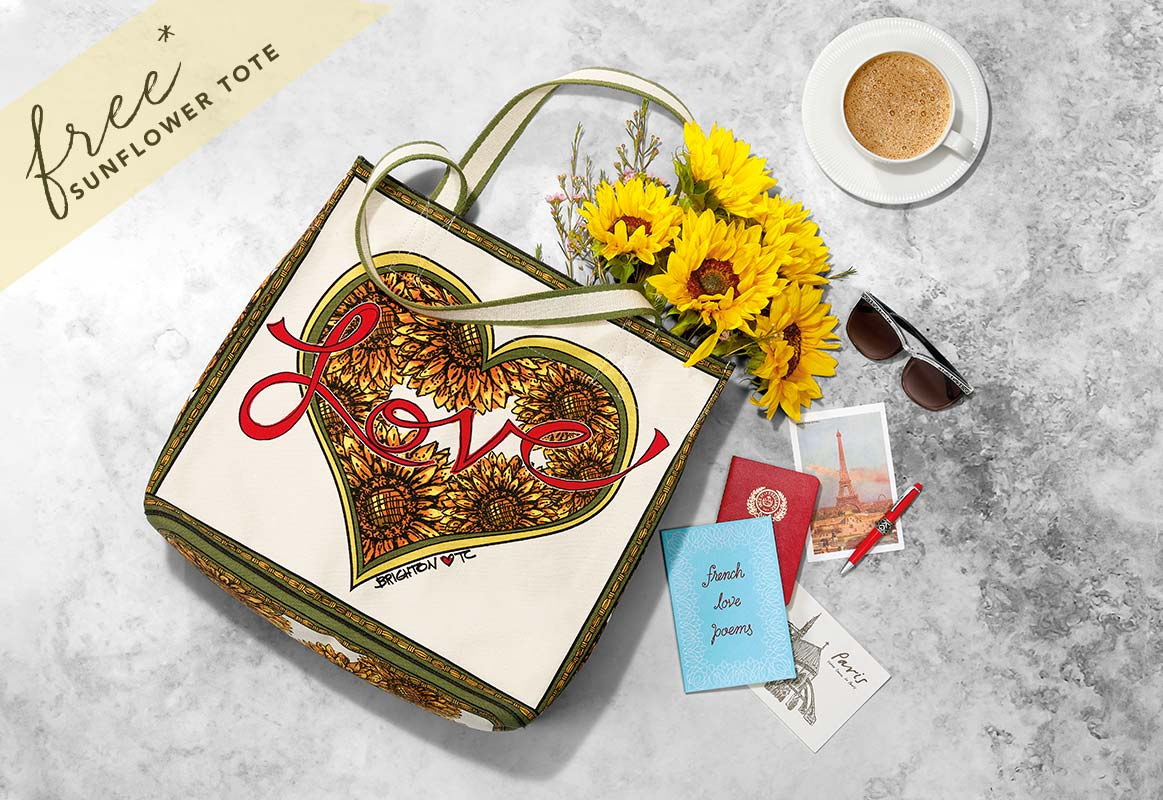 Brightonista Tote bag spill with postcards, sunglasses, and cup of coffee