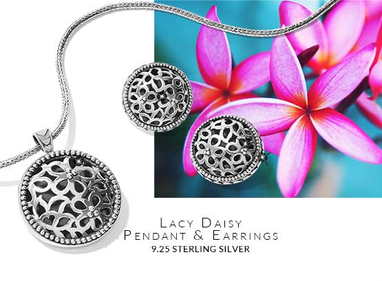 Image of Lacy Daisy Pendant Necklace & Earrings