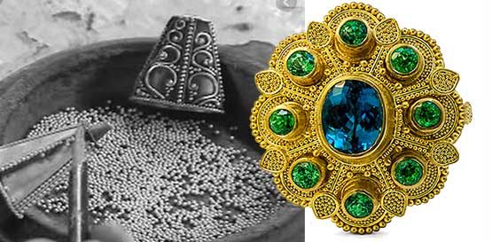 Image of dot-and-ball granulation and inspiration from Bali