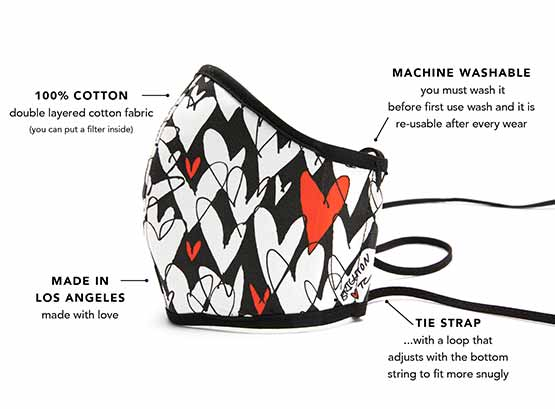callouts of mask features - cotton, machine washable, tie strap, made in LA