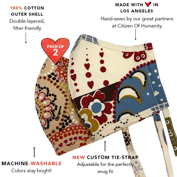 Brighton face mask infographics - machine washable, 100% cotton, double-layered, filter friendly with adjustable tie-strap face mask