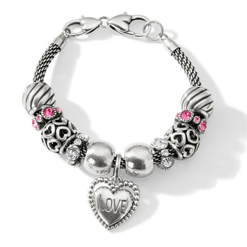 Silver charm bracelet with love CHarm