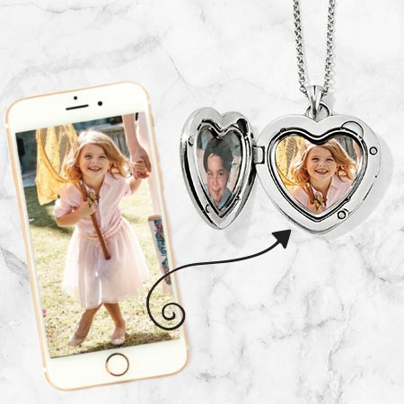 Iphone with picture and amulets with pictures inside