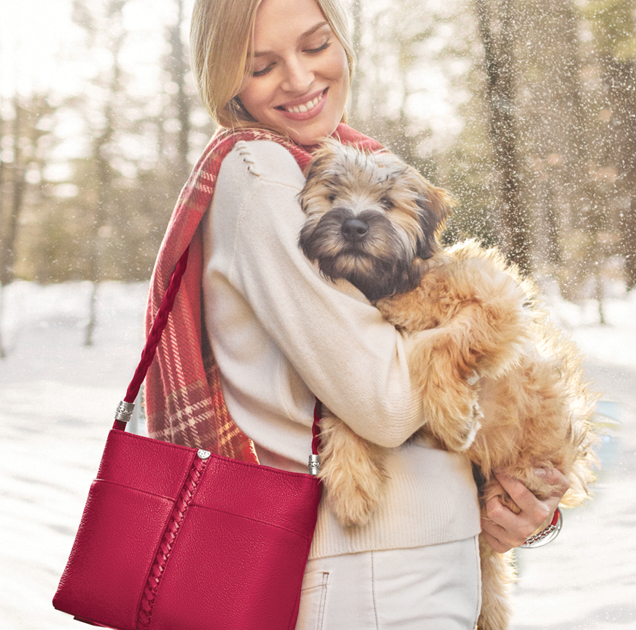 Model with dog and brighton handbag