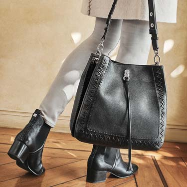 styled luxury gifts featuring black shoes and bag