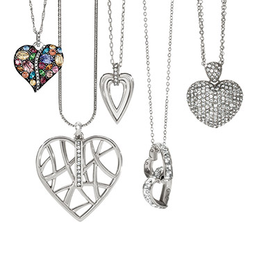 Various styles of heart pendant necklaces