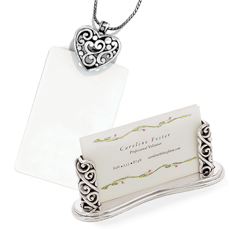 Contempo Heart Badge Clip Necklace & Crystal Ball Card Holder
