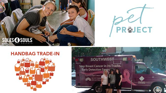 Brighton Gives Back Charities. Soles 4 Souls, Pet Project, Handbag Trade-In, Power of Pink