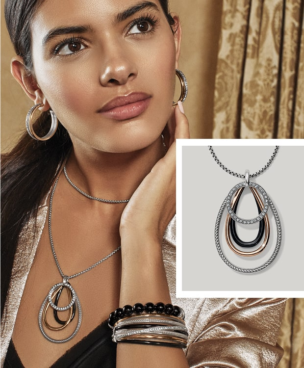 Model With Black and silver Jewelry