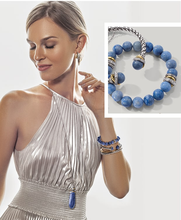 Model With blue pearl jewelry