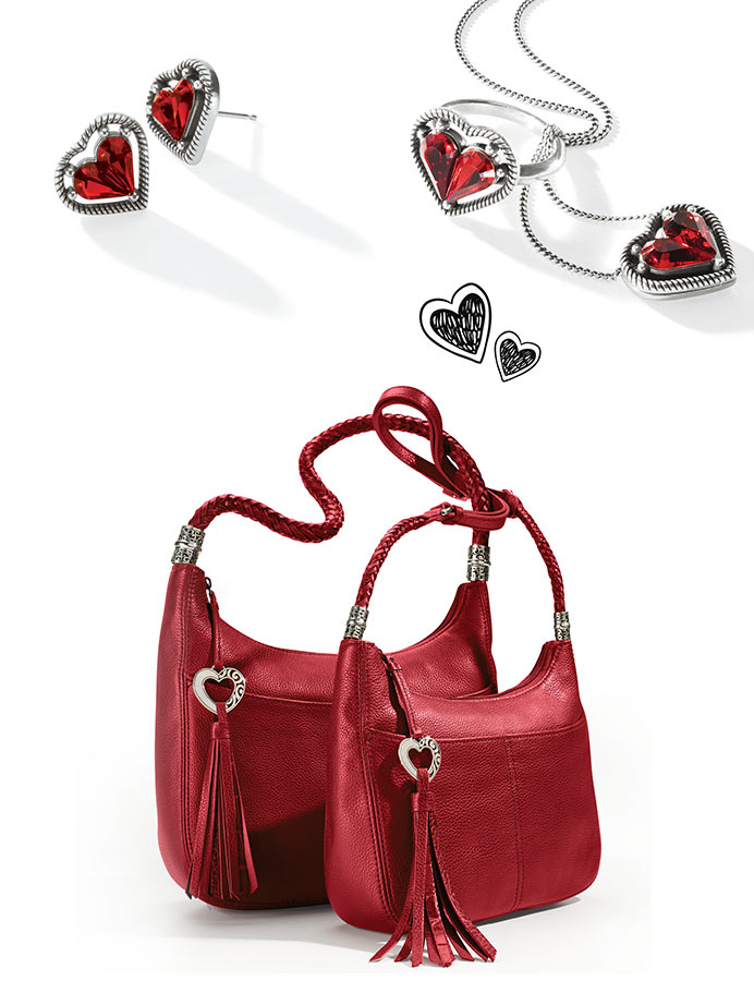 favorite red earrings, necklace and leather handbags