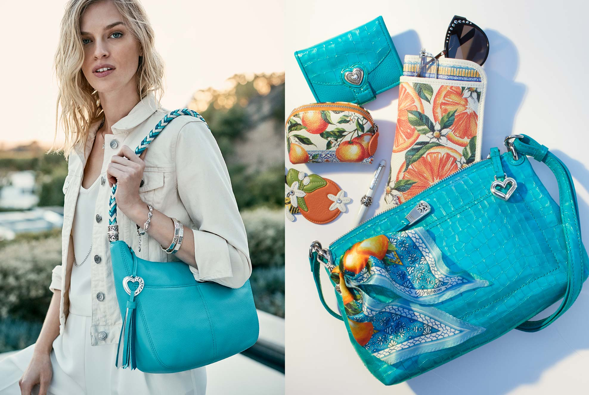 model with barbados in cerulean blue and bag spill