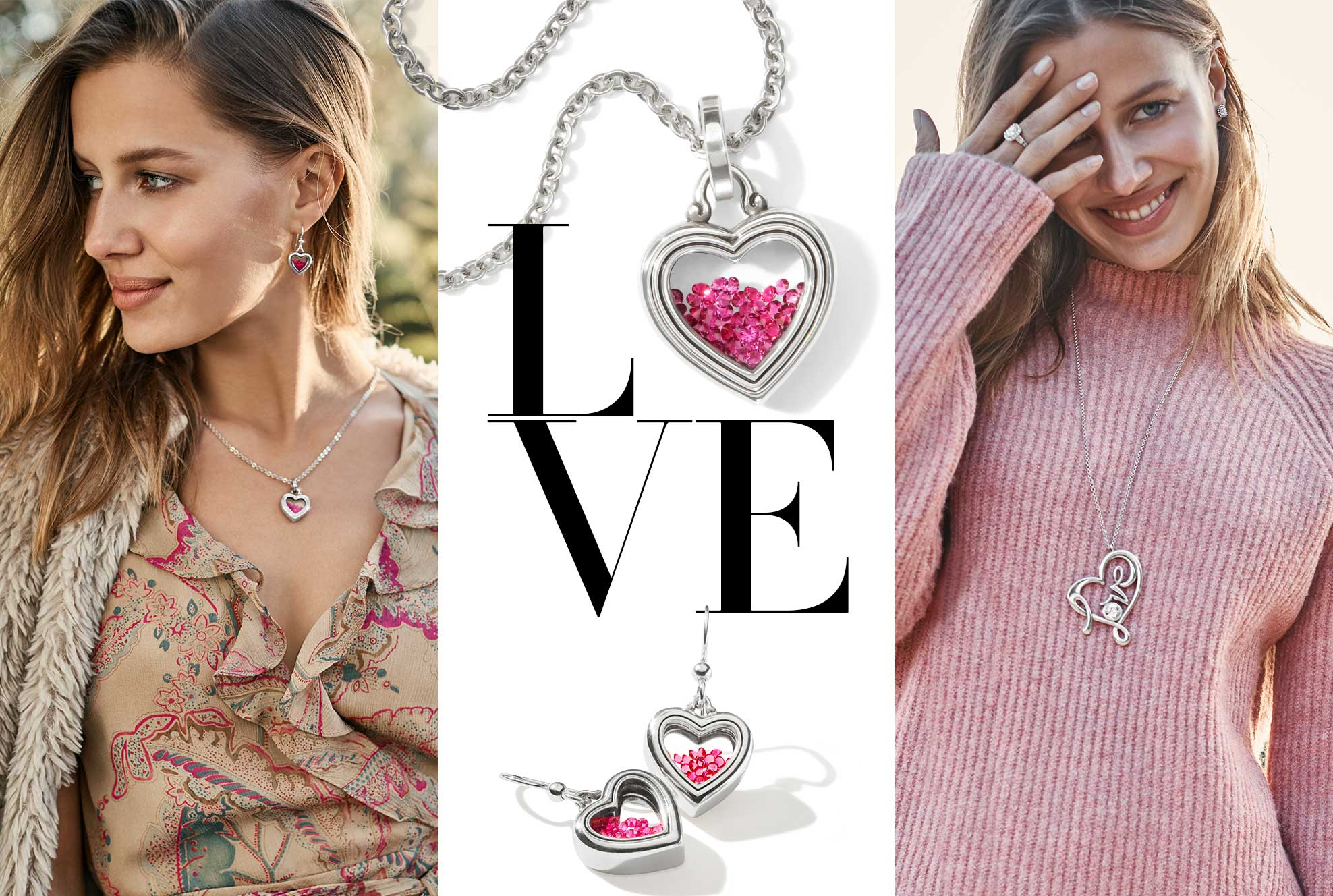 models with heart jewelry
