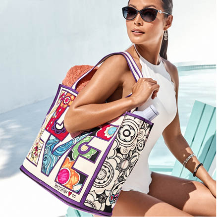 Model holding Love Groove Tote