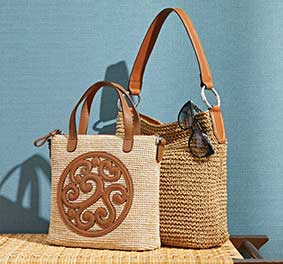 brighton Handbag with straw fabric