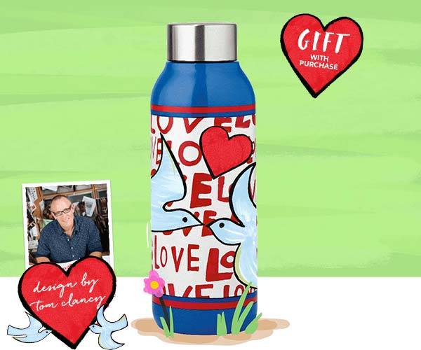 Gift With Purchase - Love Dove Water Bottle with any handbag purchase