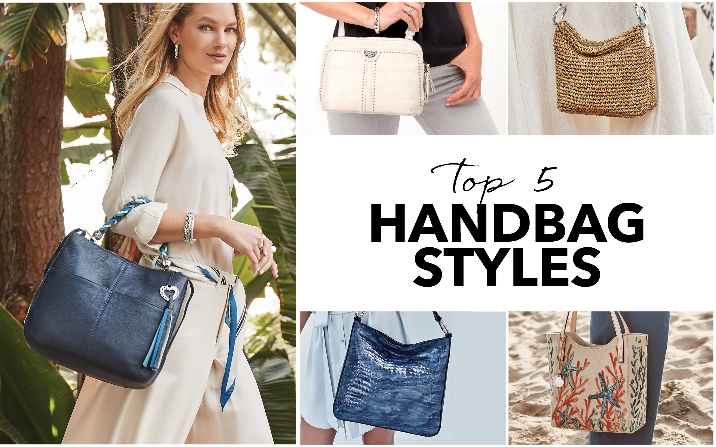 Model carrying 5 different handbag styles