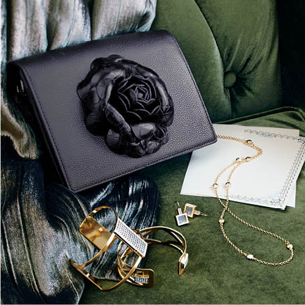 styled luxury gifts featuring Rosaria handbag with Christo Cuff
