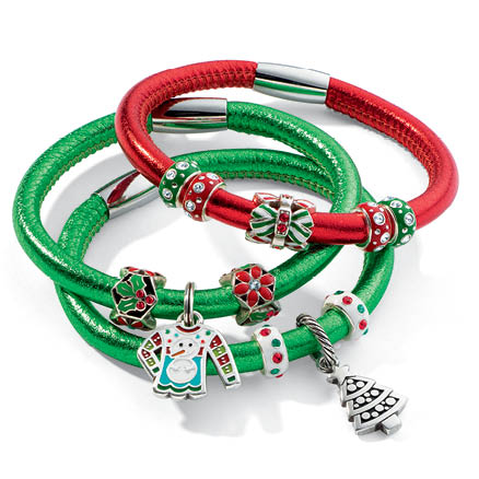 holiday charms with woodstock leather bracelets