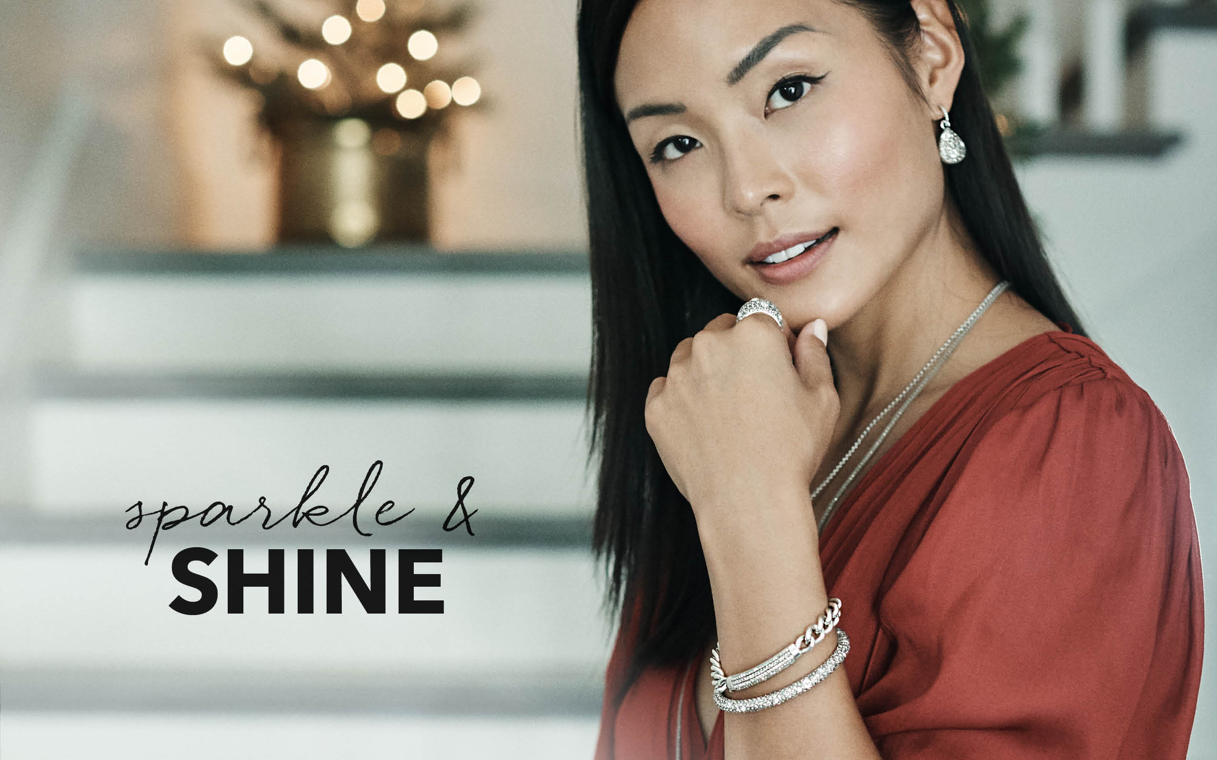 Model wearing sparkle and shine jewelry from brighton