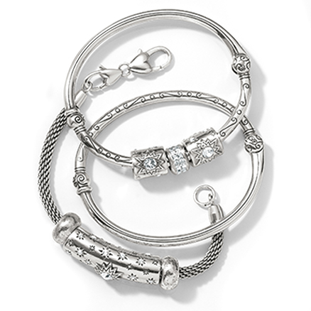 silver charm bracelet and bangles