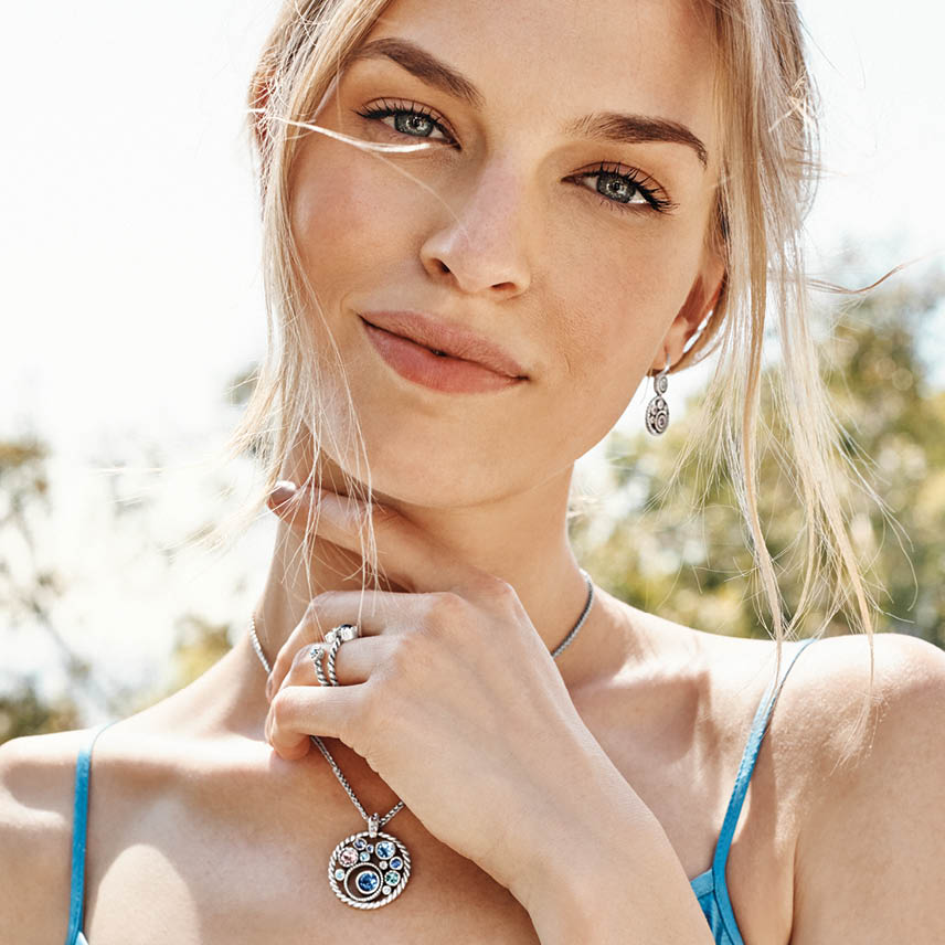 brighton model wearing halo collection jewelry