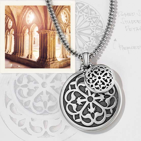 Insert Of Image Of Church Loacated In The Top Left Corner With A Ferrara Petite Necklace