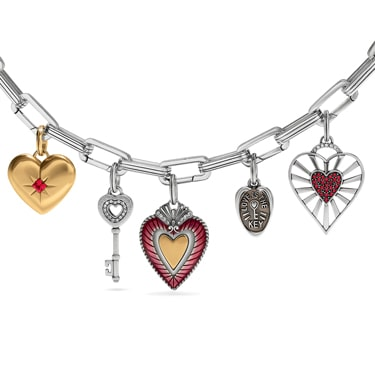 Silver Chain with different hearts and key amulets