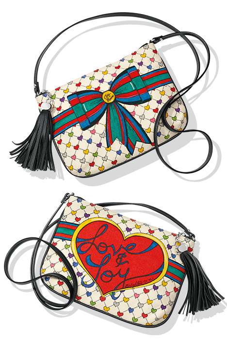 Love And Joy crossbody pouch shown front and back