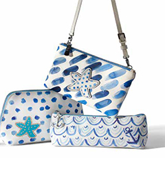 Blue Water Large and Small Cosmetic Pouches and Cross Body Pouch