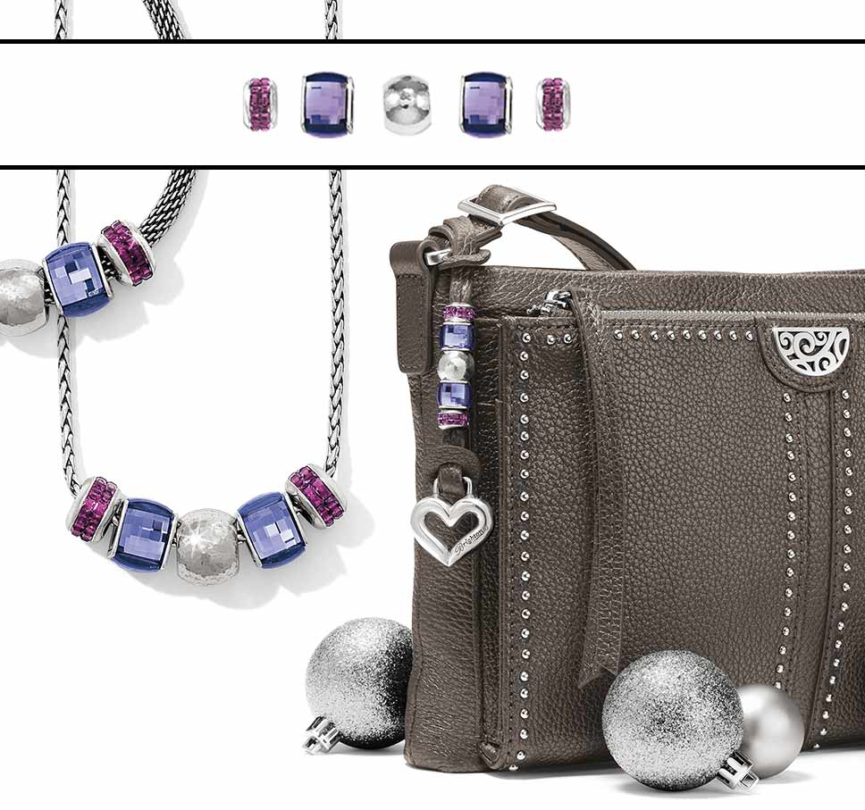 Personalized Jagger crossbody with purple beads