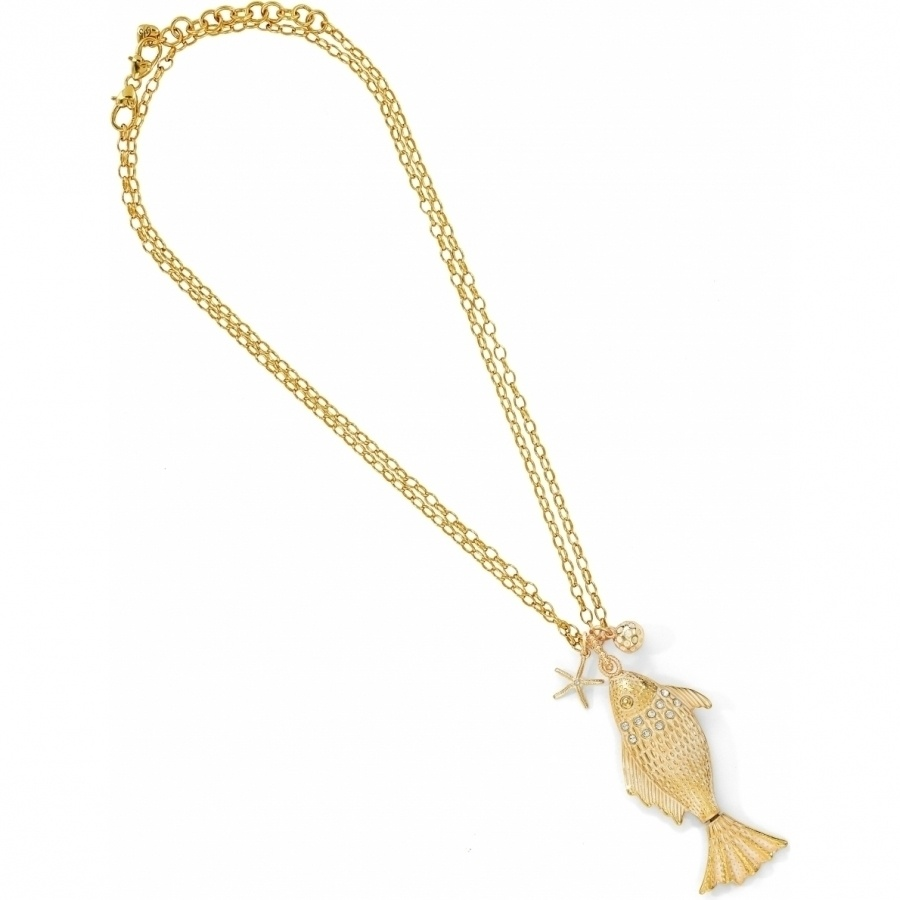 Marine gold marine gold fish convertible necklace necklaces for Gold fish pendant