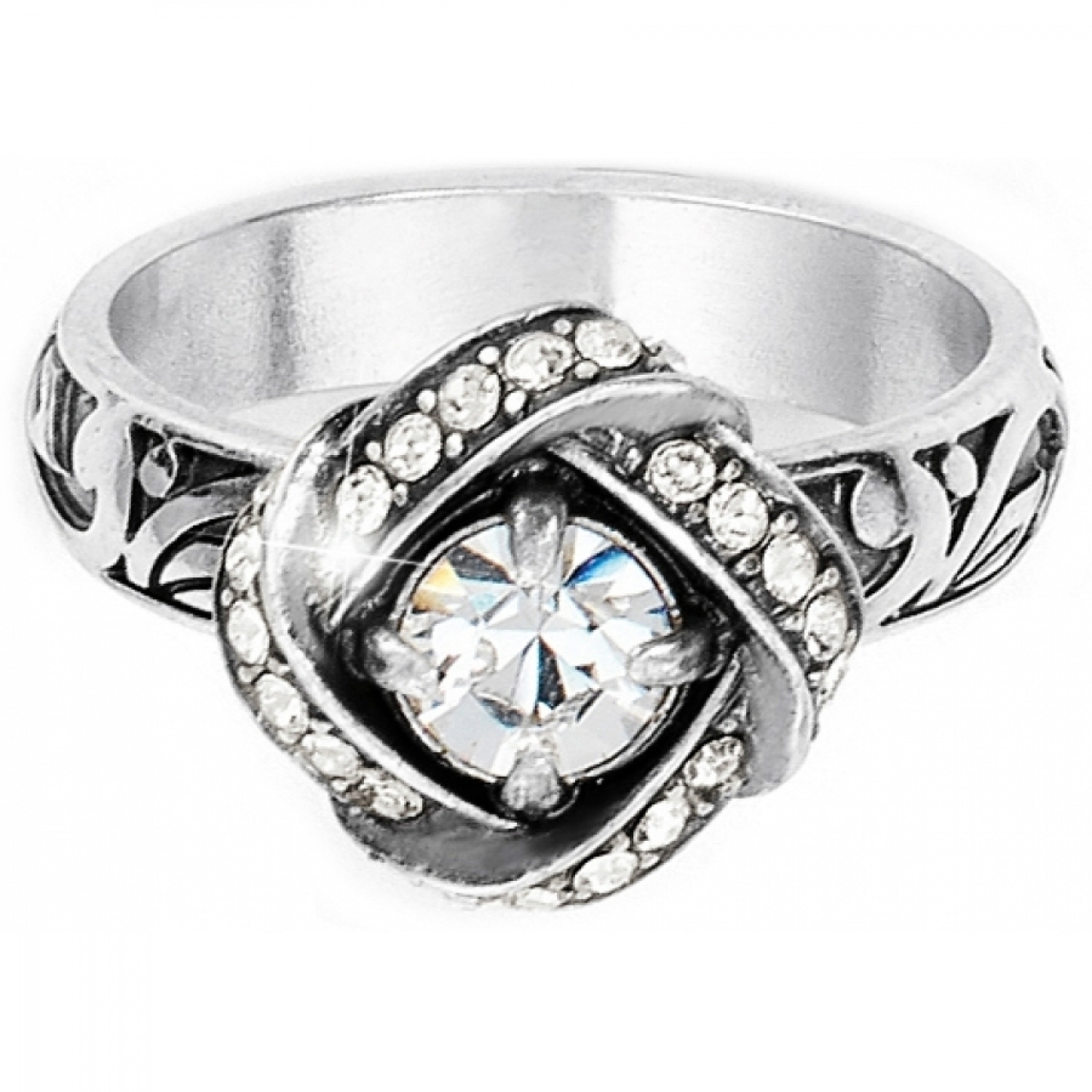 ring knot diamond everlon in sterling silver