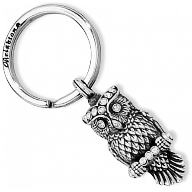 Gift Time Products Owl Clock Key Ring - Silver Silver (Colour) XsWFm0U4