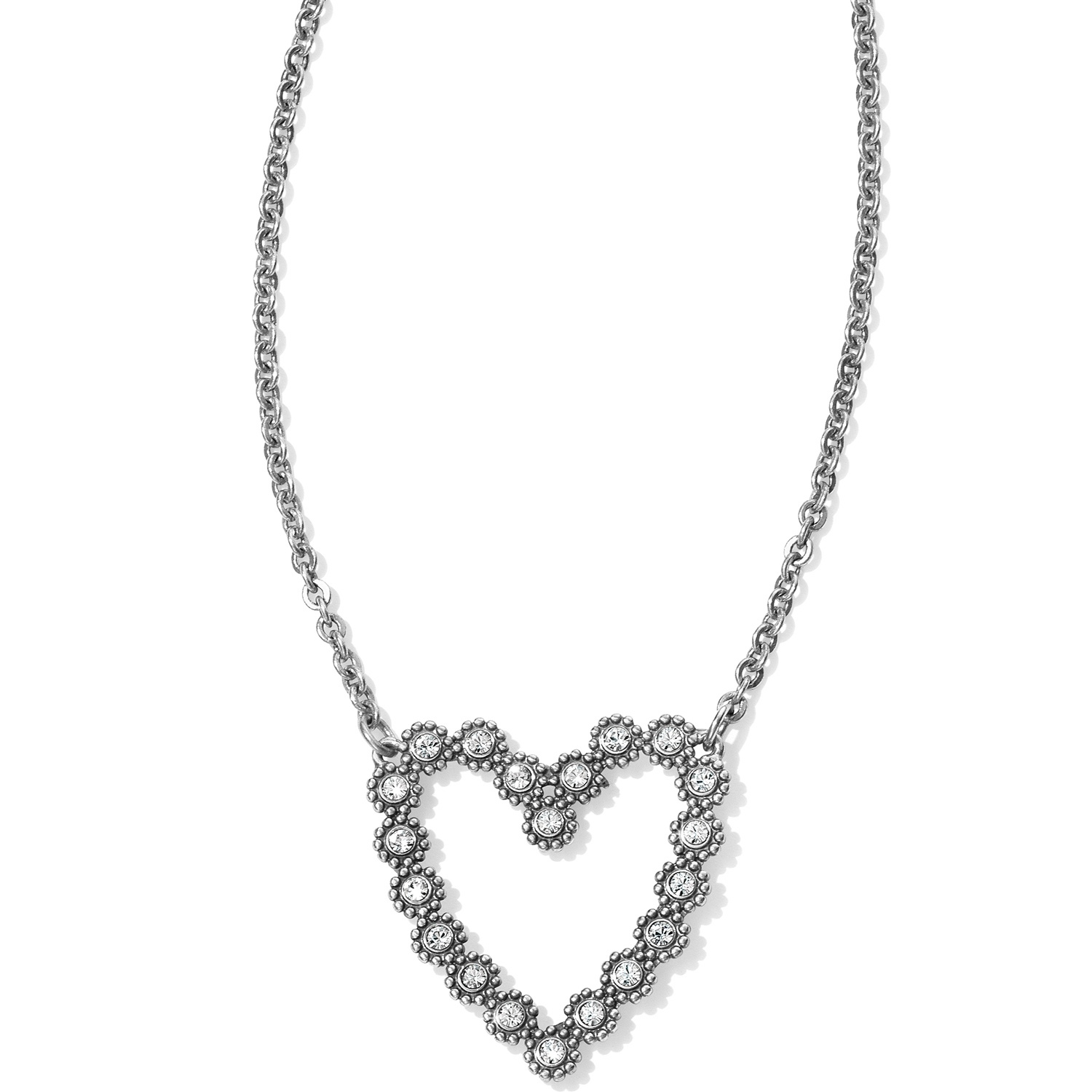 platinum silver in diamond linking jewelry jewellery sterling necklace itm ct and heart