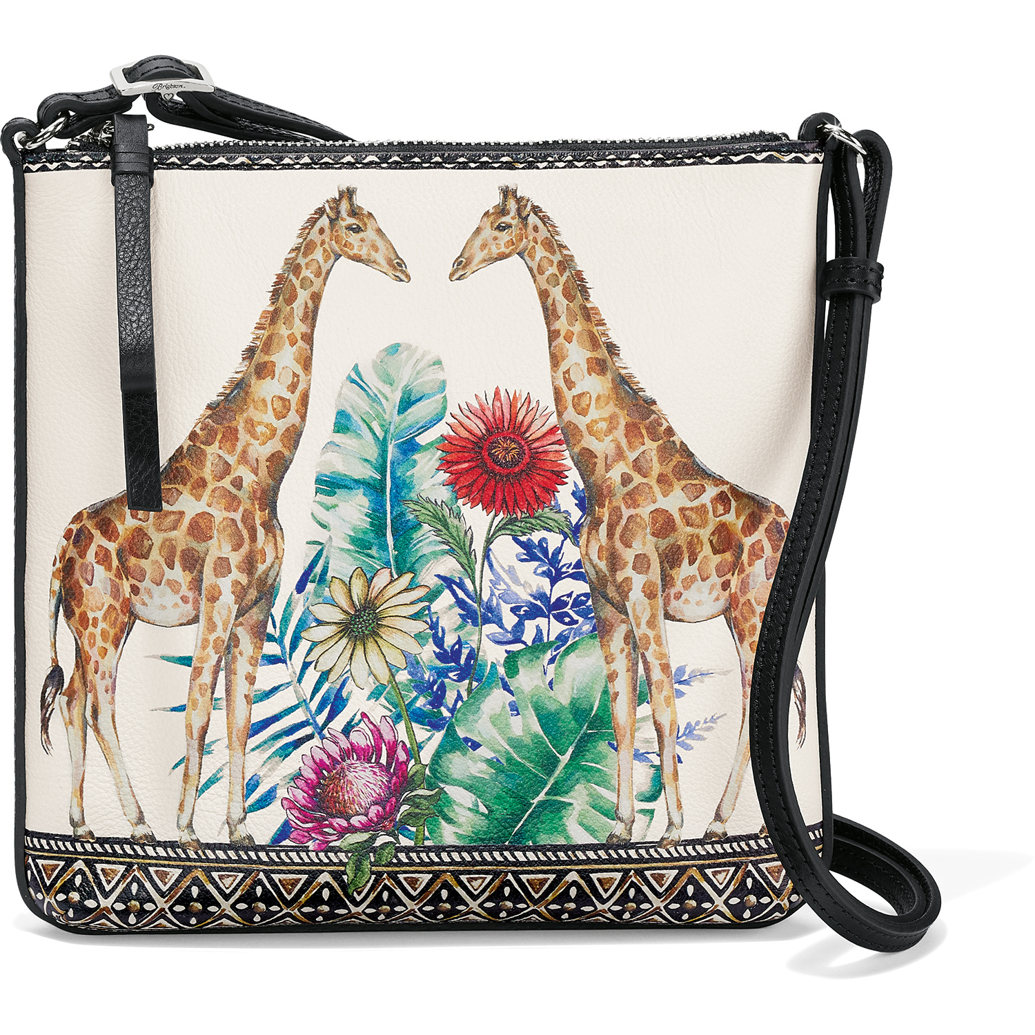 Roomy Pockets Series Two Giraffes In Black And White Small Crossbody Bag Cell Phone Purse Wallet For Women Girls
