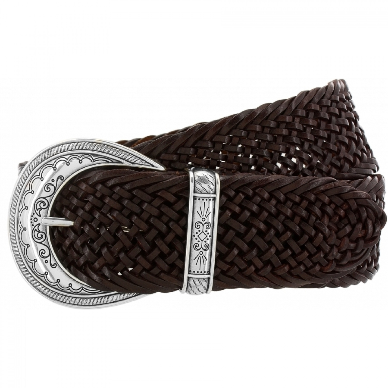 This stylish men's braided leather belt with an antiqued-brass-finish buckle pairs well with dressy and casual pants.