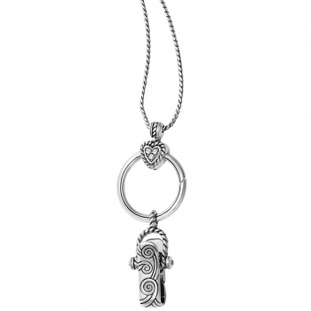 Heart Charm Reversible Badge Clip Necklace
