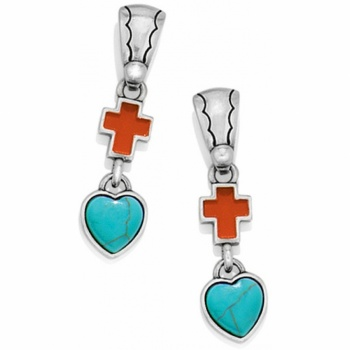 Loretto Cross Loretto Heart Post Drop Earrings