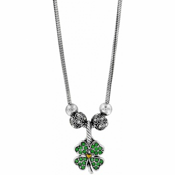 Heart Leaf Clover Charm Necklace