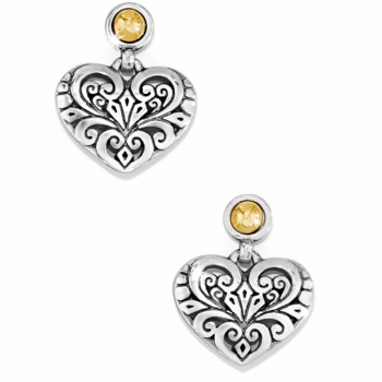 Roccoco Heart Post Drop Earrings