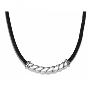 Via Roma Via Roma Leather Collar Necklace