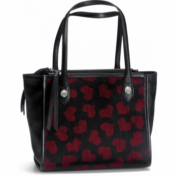 House of Hearts Cerise Double Zip Medium Tote